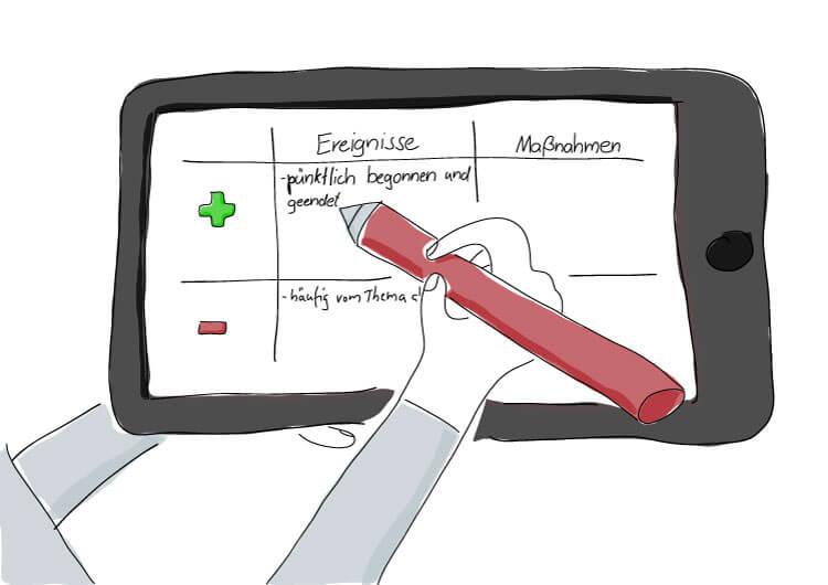 Nachbereitung von Meetings zur stetigen Verbesserung und Produktivitätssteigerung